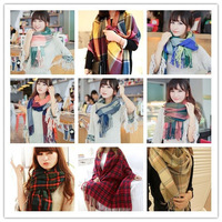 16 kinds Autumn -Summer Scarf fashion Style Multicolor Plaid Scarf With Tassels For Unisex  Free Shipping 2014 JP112501