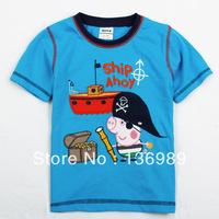 retail!Wholesale NOVA KIDS Hotsale NOVA Kids wear clothing fashionthe George peppa pig pirate t-shirts with Ship Ahoy C4161#
