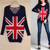 New Fashion Womens British flag Pattern Knit Women&Ladies Long sleeve cardigan- UK Flag Sweater casual V-neck Pullover coat