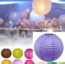 "purple 8""/20 cm  round paper lanterns lamp various color wedding party dI1408(China (Mainland))"