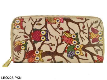 2014 Мода Сова Pattern держатель долго дизайн клеенка бумажник карточка портмоне женщин сумки Бесплатная доставка LBQ227 / 228