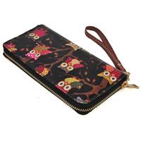 2014 Vintage Owl&Palace Pattern long design Oilcloth wallet card holder coin purse women's handbag Free Shipping LBQ226