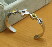 New arrival 316L Stainless Steel in silver with CZ diamonds women cuff Bracelets & Bangles,Gift for Women
