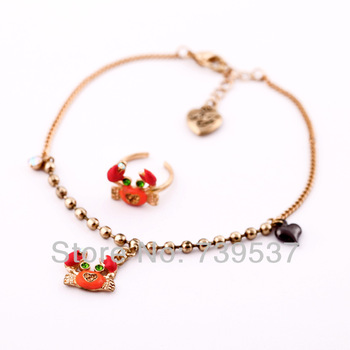 Summer Pop Crab Pendant Bead Chain Delicate Anklet