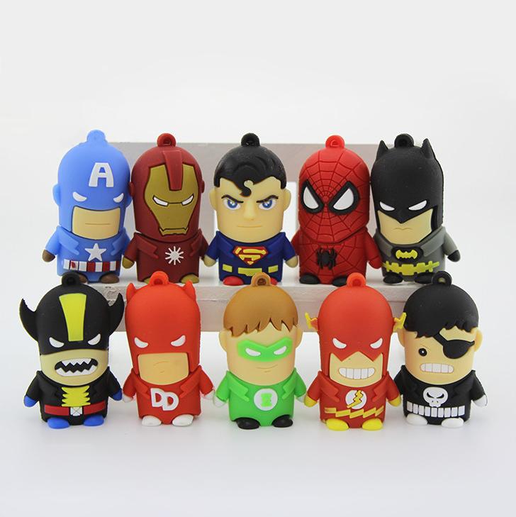 Wholesale Cartoon Super Hero Pendrive USB Flash Driver 2GB 4GB 8GB Pen USB Drives free shipping 10pcs/lot(China (Mainland))