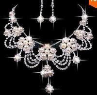 A020 Neckace earrings set Elegant Rhinestone Crystal Wedding Bride Party  B18