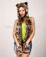 Faux Fur women hats Winter hat cap belt scarf gloves set Tiger Hat Warm Winter Animal Cute Beanies Cap girls Claws Hat free ship