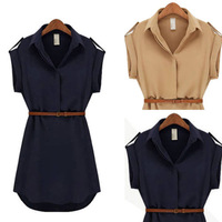 Fashion Women Ladies short Sleeve Chiffon Casual OL Belt Shirt One Piece Mini Dress S M L XL Plus Size Free Shipping