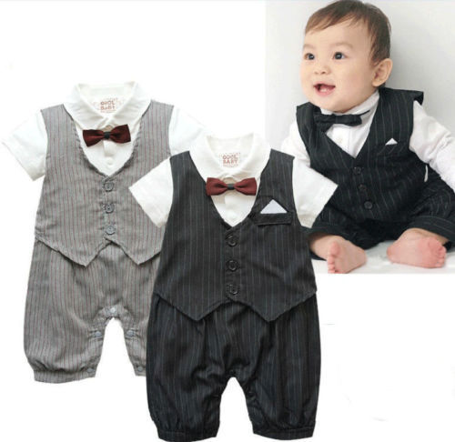 X'mas Baby Boy Clothes Formal Tuxedo Boys One Piece Romper Suit(China (Mainland))