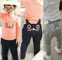 Retail 2014 children's clothing BOYS GIRLS kitty harem pants 100% cotton owl trousers new  spring autumn children pants