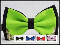 Retail 11 Colors Stylish Fashion MEN'S and Women BOWTIE MEN TUXEDO BOW TIE Metal package edge,Freeshipping