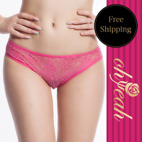 P50084P Pink Flower Lace See Through With Bow Knot Decorate Plus Size Panties For Women Lace Underwear Open Thong