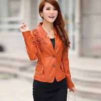 2014 leather jacket women clothing female short design leather clothing slim women leather coat Outerwear & Coats size m-3xl 15