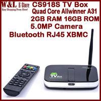 CS918S Android TV Box Quad Core Allwinner A31 MINI PC 2GB RAM 16GB ROM 5.0MP Camera RJ45 Bluetooth MIC XBMC Smart TV Box