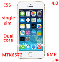 3G 4.0 inch IPS QHD Perfect 1:1 clone original i 5S phone MTK6572 dual core 1GB RAM 8GB/16GB/32GB ROM android 4.2 8MP camera dhl