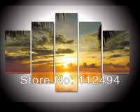 Free shipping seascapes canvas oil painting  5panel wall decor painting large living room artwork painted with frame FS/854