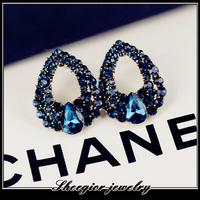 Elegant fashion love brand ear jewelry blue rhinestone Stud Earrings for women earring Min order $15 Free shipping