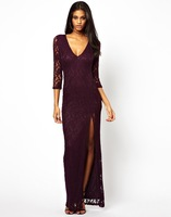 Fashion long floor length ankle length women lace dresses purple black side slit sexy vintage women's evening paty dress SM054