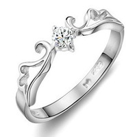 2013 New Arrival Sterling Silver 925  Plated Men Jewelry High Quality Zircon  Imperial Crown  Crystal  Wedding Rings