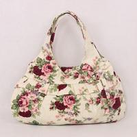 Fashion BB95 New Urban Women's Makeup Bags Handbag Khaki Printing Flower Package