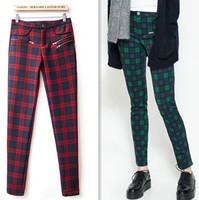 2014 New Fashion Women Plaids Pattern Knitting pants 2013 design women Stretch Material Plus Size XL Autumn/Winter Free Shipping