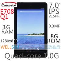 "Original Colorfly E708 Q1 Multi language Tablet PC 7""IPS 1280x800 Cortex A7 Quadcore1.0G 1G RAM 8G ROM Android 4.2 0.3MP"