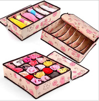 FreeShipping 3 pieces for a Set Foldable Closet Wardrobe Organizers Storage Box For Bra,,underwear,necktie,socks