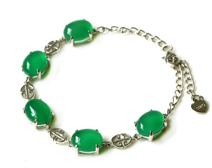 Genuine natural Jade Bracelets and Bangles Fashion Jewelry Chrysoprase 925 silver jade bracelet(China (Mainland))