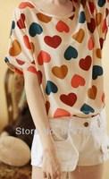 2014 Fashion Summer Women's Clothes Chiffon blouse Sundress love colors  free shipping w003