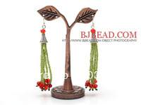 Free Shipping!! Christmas Design Christmas Gifts Green Glass Beads and Red Crystal Beads Tassel Dangle Earrings