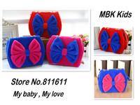 Retail 1pcs Kids Handbag Girls Purse Lady Mini Bags Fleece Bowknot Cosmetic Bag Pure Color Cute Bowknot Sling Bags Free Shipping