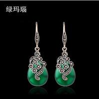 Free Shipping  Thai jewel-encrusted silver earrings  green agate& white cat's eye & red garnet Crystal  Earrings Wholesale