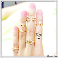 7pcs Punk Lovely Cute Gold Bow/Anchor/Skull Concise finger ring set women 2014 Fashion Midi knuckle rings Free shipping