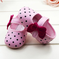 Baby girls Infant shoes Lovely PINK polka dot prewalker Soft soled cotton antislip shoes first walkers LKM160