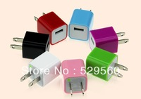 10pcs Free shipping Mini USB AC Power Charger Adapter For iphone 4 4S 5 7colors
