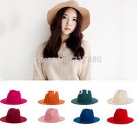 6pcs 2014 NEW Fashionable Men Women Wool Fedora Floppy Wool Felt Caps Winter Mens Trilby Cap Lady Bucket Hats Ladies Fedoras Hat