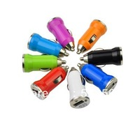 10pcs Free shipping Mini 2.0 USB Car Charger Adapter For iphone 4 4S 5/ipad 8colors