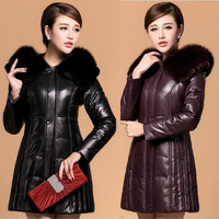 2014 new women natural fur outwear autumn winter genuine leather down coat plus big size fox fur sheepskin 5xl 0A