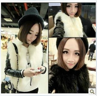 2013 Autumn - Winter New Women's Temperament Pplush Fur Fight Skin Short Sleeve Jacket Woman jacket