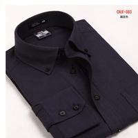 2011 autumn Oxford silk cloth 100% cotton easy care male long-sleeve shirt button men's clothing shirt navy blue