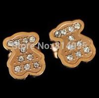14k rose gold plated bear&crystal earring/fashion g bear earring