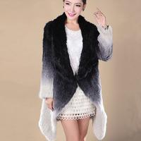 EMS FREE SHIPPING. 100% REAL Knitted Rabbit Fur Coat , Natural Rabbit  Long Coat Gradient Color No. SU-13123