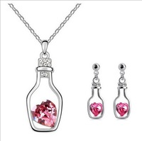 (Min Order$10)New 2013 Girl's Jewelry 18K White Gold Plated Love Drift Bottle Austrian Crystal Earrings Necklace Jewelry Sets