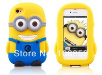 Cartoon 3D Despicable Me silicone soft Cover Case  For Apple iPhone4& 4S