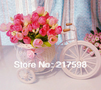 Free shipping flowers+vase rattan tricycle flower set artificial flower home decoration