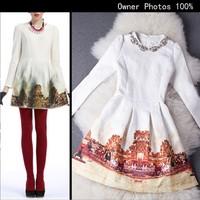 2014 autumn and winter fashion handmade beading  jacquard weave cotton cloth print long-sleeve dress Free shipping