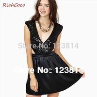 Desigual Women Black Fashion Autumn Summer Sexy Party Dress Fashion Zipper Sequin Deep V-Neck Waist Off Sleeveless Vestidos D227