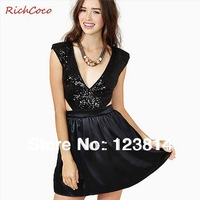 Dresses New Fashion 2013 Evening Dress with Zipper Sequined Patchwork Deep V-Neck Sleeveless Sexy Vestido Free Shipping D227