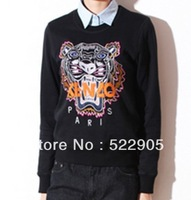 2013 New Black Women's Hoodies Crew Neck Tiger Head Embroidery European Fashion Thicken Fleece Pullovers Sweatershirt Plus Size
