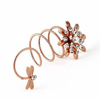 Min Order $10(Mix Items)Designer Fashion Charms Crystal Flower Dragonfly Lovely Spring Rose Gold Silver Metal Women Party Rings
